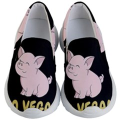 Go Vegan   Cute Pig Kid s Lightweight Slip Ons by Valentinaart