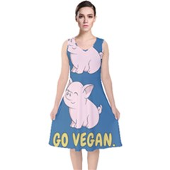Go Vegan   Cute Pig V Neck Midi Sleeveless Dress