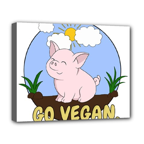 Go Vegan   Cute Pig Deluxe Canvas 20  X 16
