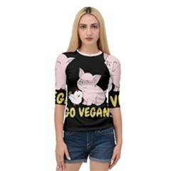 Go Vegan   Cute Pig And Chicken Quarter Sleeve Raglan Tee