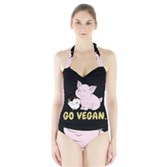 Go Vegan - Cute Pig And Chicken Halter Swimsuit
