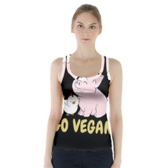 Go Vegan   Cute Pig And Chicken Racer Back Sports Top