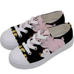 Go Vegan   Cute Pig And Chicken Kids  Low Top Canvas Sneakers by Valentinaart