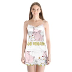 Go Vegan   Cute Pig And Chicken Satin Pajamas Set by Valentinaart