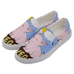 Go Vegan - Cute Pig And Chicken Men s Canvas Slip Ons by Valentinaart