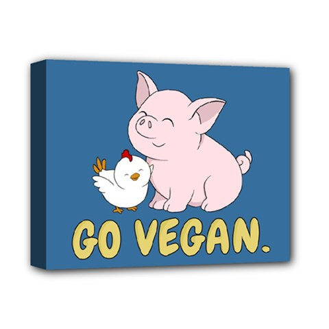 Go Vegan   Cute Pig And Chicken Deluxe Canvas 14  X 11