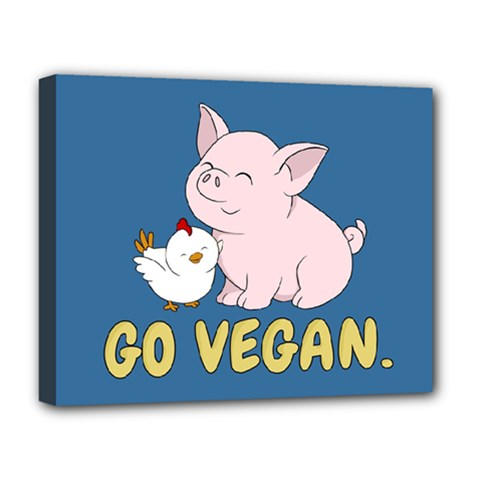 Go Vegan   Cute Pig And Chicken Deluxe Canvas 20  X 16