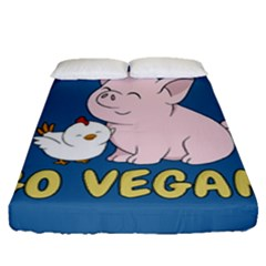 Go Vegan - Cute Pig And Chicken Fitted Sheet (queen Size) by Valentinaart