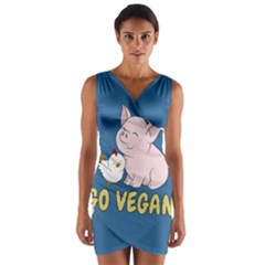 Go Vegan   Cute Pig And Chicken Wrap Front Bodycon Dress