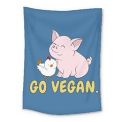 Go Vegan   Cute Pig And Chicken Medium Tapestry by Valentinaart