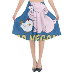 Go Vegan   Cute Pig And Chicken Flared Midi Skirt