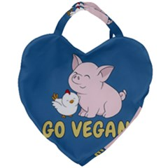 Go Vegan   Cute Pig And Chicken Giant Heart Shaped Tote