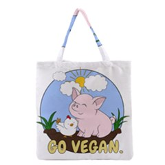 Go Vegan   Cute Pig And Chicken Grocery Tote Bag