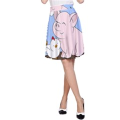Go Vegan   Cute Pig And Chicken A Line Skirt