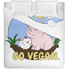 Go Vegan   Cute Pig And Chicken Duvet Cover Double Side (king Size) by Valentinaart