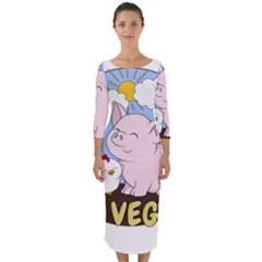 Go Vegan   Cute Pig And Chicken Quarter Sleeve Midi Bodycon Dress by Valentinaart