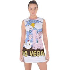 Go Vegan   Cute Pig And Chicken Lace Up Front Bodycon Dress