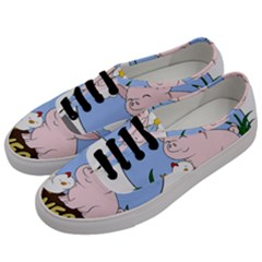 Go Vegan   Cute Pig And Chicken Men s Classic Low Top Sneakers by Valentinaart