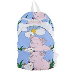 Go Vegan   Cute Pig And Chicken Foldable Lightweight Backpack