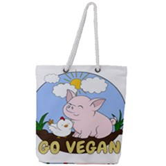 Go Vegan   Cute Pig And Chicken Full Print Rope Handle Tote (large) by Valentinaart