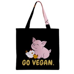 Go Vegan   Cute Pig And Chicken Zipper Grocery Tote Bag by Valentinaart