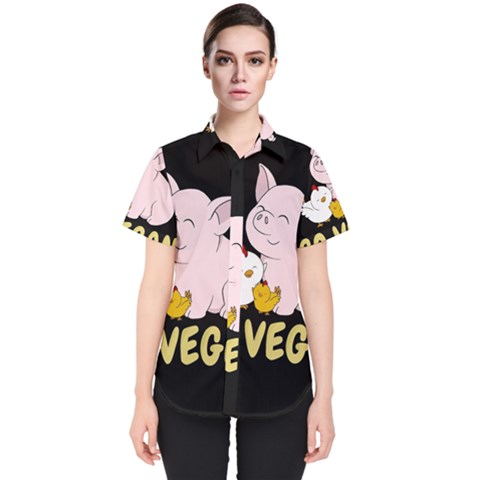 Go Vegan   Cute Pig And Chicken Women s Short Sleeve Shirt by Valentinaart