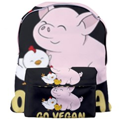 Go Vegan   Cute Pig And Chicken Giant Full Print Backpack by Valentinaart
