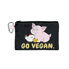 Go Vegan   Cute Pig And Chicken Canvas Cosmetic Bag (small) by Valentinaart