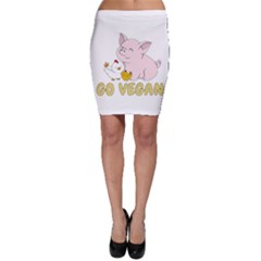 Go Vegan   Cute Pig And Chicken Bodycon Skirt