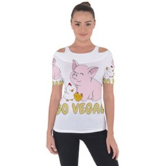 Go Vegan   Cute Pig And Chicken Short Sleeve Top