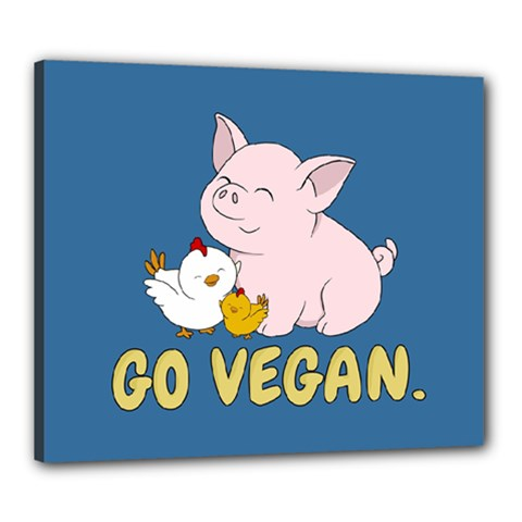 Go Vegan   Cute Pig And Chicken Canvas 24  X 20  by Valentinaart