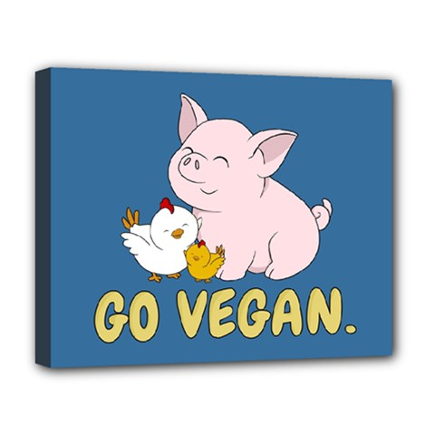 Go Vegan   Cute Pig And Chicken Deluxe Canvas 20  X 16   by Valentinaart