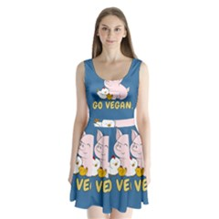 Go Vegan - Cute Pig And Chicken Split Back Mini Dress  by Valentinaart