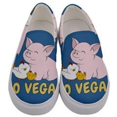 Go Vegan   Cute Pig And Chicken Men s Canvas Slip Ons