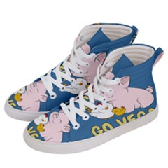 Go Vegan   Cute Pig And Chicken Women s Hi Top Skate Sneakers by Valentinaart