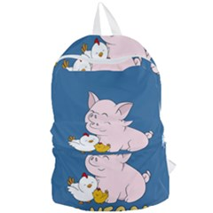 Go Vegan   Cute Pig And Chicken Foldable Lightweight Backpack by Valentinaart