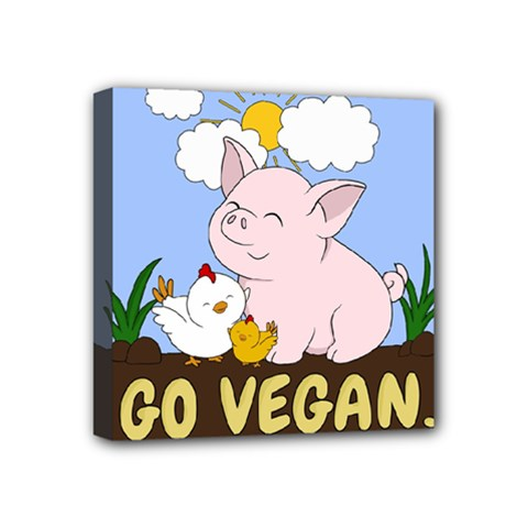 Go Vegan   Cute Pig And Chicken Mini Canvas 4  X 4  by Valentinaart