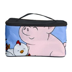 Go Vegan - Cute Pig And Chicken Cosmetic Storage Case by Valentinaart