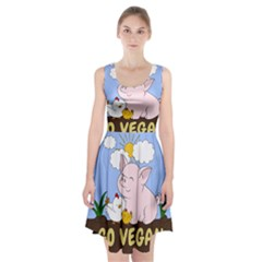 Go Vegan - Cute Pig And Chicken Racerback Midi Dress by Valentinaart