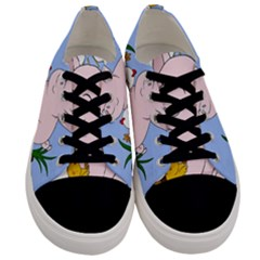 Go Vegan   Cute Pig And Chicken Men s Low Top Canvas Sneakers
