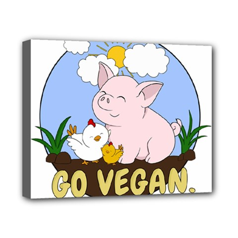 Go Vegan   Cute Pig And Chicken Canvas 10  X 8  by Valentinaart
