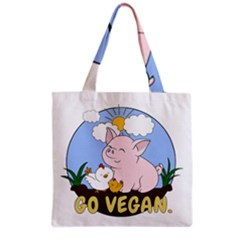 Go Vegan   Cute Pig And Chicken Grocery Tote Bag by Valentinaart