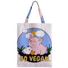 Go Vegan   Cute Pig And Chicken Zipper Classic Tote Bag by Valentinaart