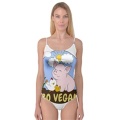 Go Vegan   Cute Pig And Chicken Camisole Leotard