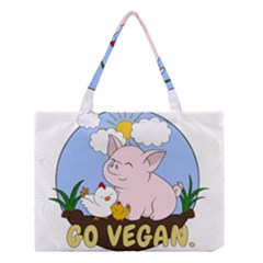 Go Vegan   Cute Pig And Chicken Medium Tote Bag by Valentinaart