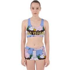 Go Vegan   Cute Pig And Chicken Work It Out Sports Bra Set
