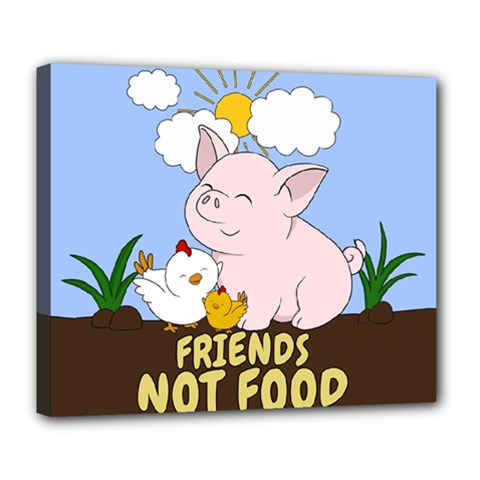 Friends Not Food   Cute Pig And Chicken Deluxe Canvas 24  X 20   by Valentinaart