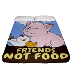 Friends Not Food - Cute Pig And Chicken Fitted Sheet (queen Size) by Valentinaart