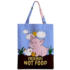 Friends Not Food   Cute Pig And Chicken Zipper Classic Tote Bag