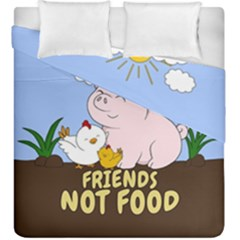 Friends Not Food   Cute Pig And Chicken Duvet Cover Double Side (king Size)